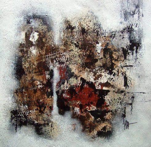 Tant que l'eau coulera 79 - Technique mixte sur papier 30 x 30 cm  -Isabelle Mignot- 2012)