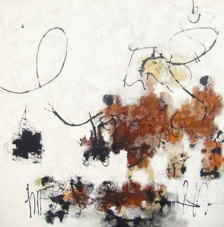 """""""Soul's vibrations 3"""" - Technique mixte sur toile 80 x 80 cm - Isabelle Mignot (2013) art,  abstrait,  exposition,  galerie,  arcachon"""