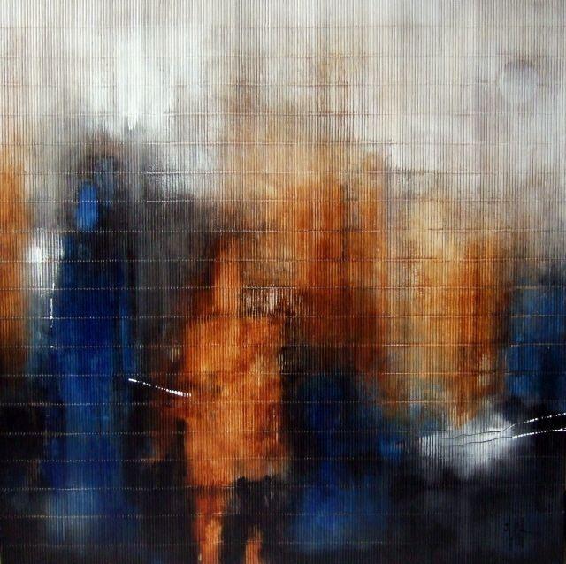 """""""Let me believe it's possible"""" - Acrylique sur tapis de jonc 100 x 100 cm - Isabelle Mignot (2009)"""