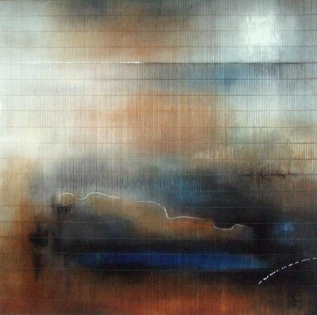 """""""Reflexion"""" - Acrylique sur tapis de jonc 100 x 100 cm - Isabelle Mignot (2009)"""
