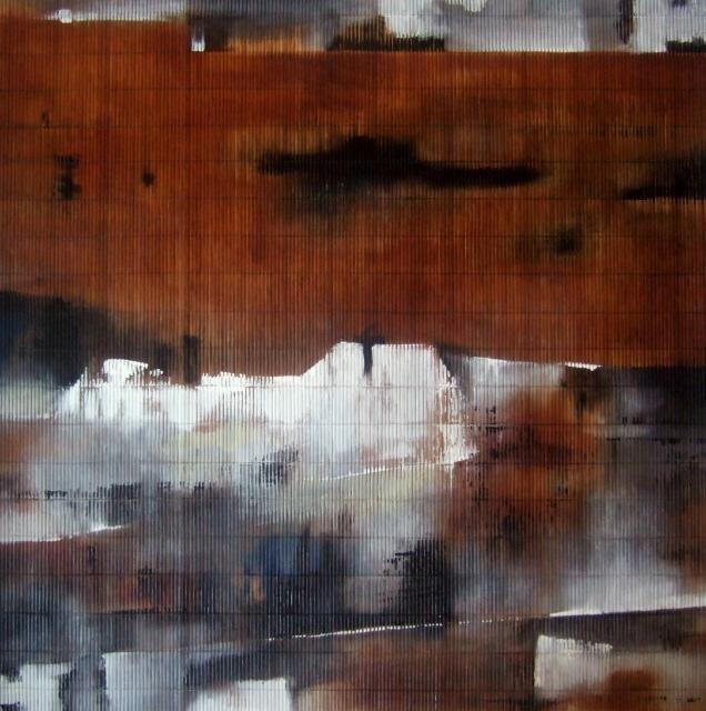 """""""New chapter"""" ou """"De page en page"""" - 100 x 100 cm - Isabelle Mignot (2009)"""
