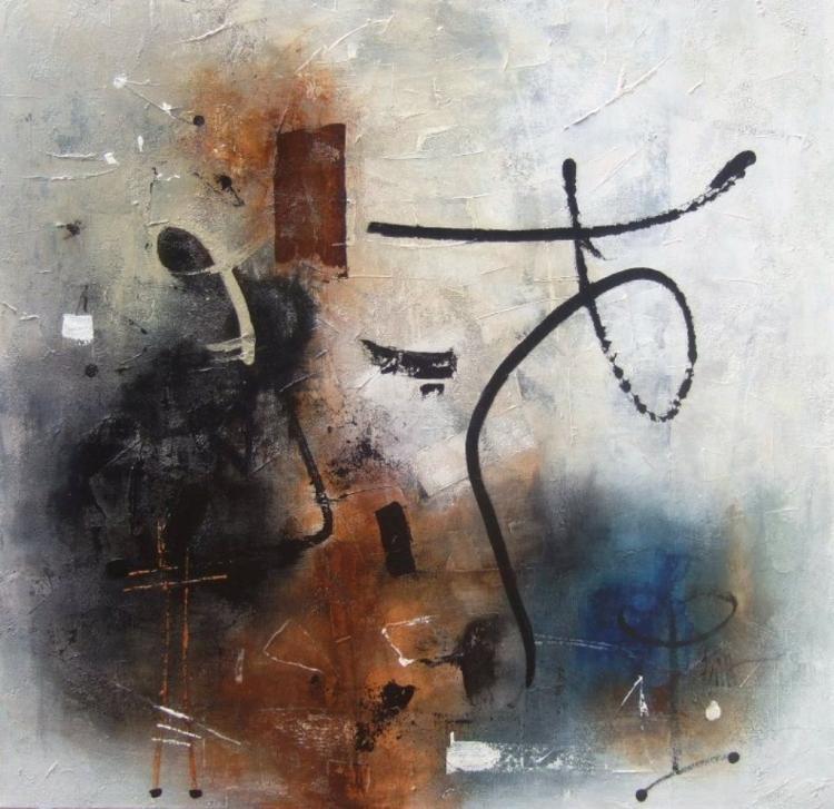 "Carré d'ailleurs 18 ou ""Come and dance with me"" -  80 x 80 cm - Isabelle Mignot (2011)"